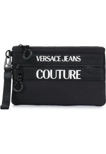 Versace Jeans Couture Clutch Com Logo Gravado - Preto