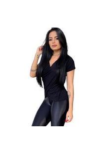 Camiseta Blusa Bata Transpassada Manga Curta Feminina