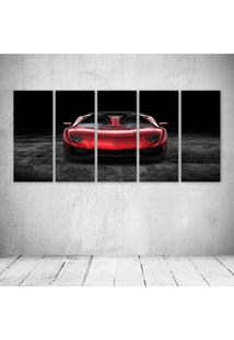 Quadro Decorativo - Red Cars Lamborghini Front Metallic - Composto De 5 Quadros