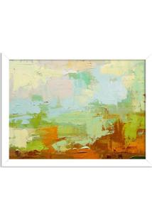 Quadro Decorativo Abstrato Moderno Verde Pincel Branco - Grande