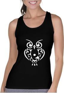 Camiseta Regata Criativa Urbana Cavada Coruja Tattoo - Feminino