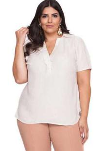 Blusa Almaria Plus Size Pianeta Lisa Natural Claro Bege