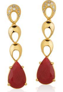 Brinco Toque De Joia Gotas Jade Vermelha E Zircônias - Feminino-Dourado