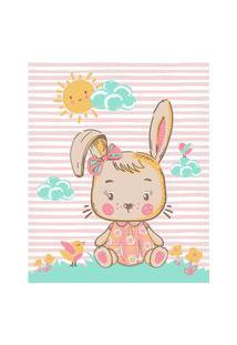 Cobertor Fleece Microfibra 90 Cm X 1,10 M Coelha Rosa Baby Joy
