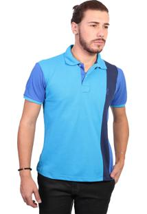 Camisa Polo Golf Club Listrada Turquesa E Azul Royal