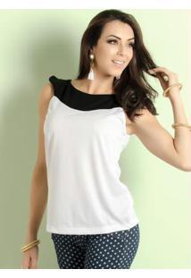 Blusa Bicolor Branca E Preta