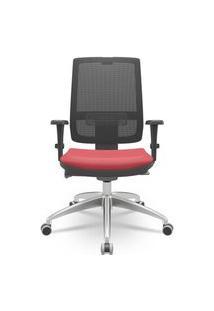 Cadeira Office Brizza Tela Sem Encosto Assento Vermelho 121Cm - 62696 Vermelho