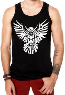 Camiseta Regata Criativa Urbana Coruja Tribal - Masculino