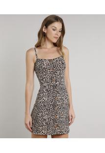 Vestido Feminino Curto Estampado Animal Print Com Botões Alça Fina Bege