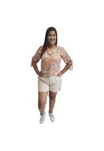 Camisa Linda D+ Floral Coral (6006)