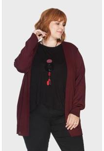 Cardigan Alongado Básico Plus Size Kalanchoê Tricotaria Feminino - Feminino-Vinho