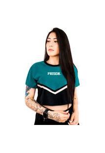 Camiseta Cropped Prison Feminina Fancy Green Blue