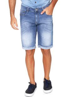 Bermuda Jeans Base Jeans Slim Estonada Azul