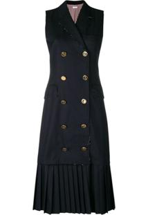 Thom Browne Vestido Chesterfield De Lã - Azul