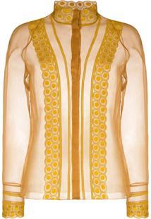 Chloé Lace-Panelled Silk-Organza Blouse - Marrom