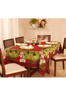 Toalha De Mesa Retangular Lepper Natal Encanto 140X220Cm Vermelha