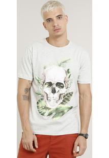 Camiseta Masculina Caveira Manga Curta Gola Careca Cinza Mescla Claro