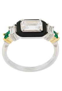 V Jewellery Anel 'Carine' De Prata Banhada A Ouro - Metálico