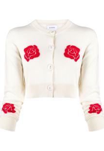 Barrie Cardigan Cropped Com Padronagem De Rosas - Neutro