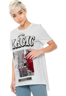 Camiseta My Favorite Thing(S) Paetês Branca
