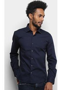 Camisa Manga Longa Ellus Tricoline Slim Masculina - Masculino-Azul Escuro