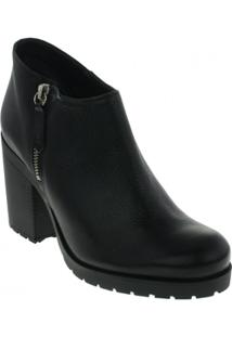 Bota Ankle Boots Schutz Couro Feminino - Feminino-Preto