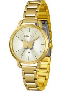 Relógio Lince Feminino Butterfly Analógico - Feminino-Dourado