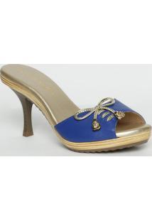 dfe8d03f49 ... Tamanco Em Couro Com Laço- Azul Royal   Dourado- Salcarmen Steffens