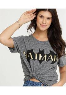 Blusa WarnerLiga Da Justiça Batman Manga Curta Feminina - Feminino-Cinza