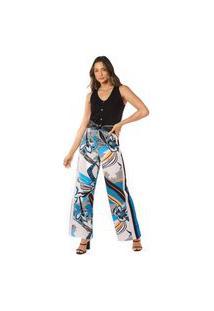 Calça Morena Rosa Pantalona Cós Alto Recorte Lateral Azul