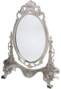 Espelho Com Moldura De Zamac Prata Marrocos 3509 Lyor Classic