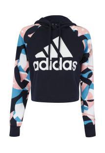 aaa9da0f9 ... Blusão De Moletom Com Capuz Adidas Sid Hood Aop - Feminino - Azul Esc /Rosa