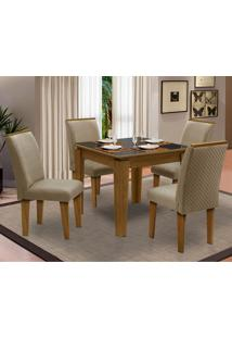 Sala De Jantar Saint Michel Com 4 Cadeiras – Dobuê Movelaria - Mell / Preto / Bege