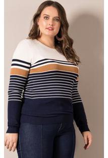Suéter Listrado Branco Lisamour