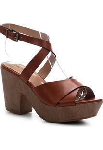 Sandália Couro Shoestock Clog Madeira Feminina - Feminino-Caramelo