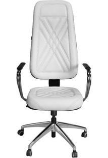 Cadeira Presidente Branca Costura Preta Para Clínicas E Escritórios - Pethiflex