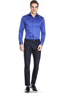 Camisa Baumgarten Maquinetada Azul - Masculino