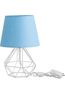 Abajur Diamante Dome Azul/Bolinha Com Aramado Branco - Azul - Dafiti