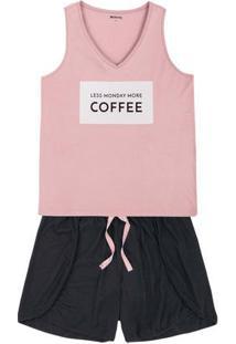 Pijama Feminino Em Malha De Algodão Com Shorts De Corte Diferenciado Em Outros Tamanhos