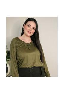 Blusa Em Suede Com Amarração Curve & Plus Size | Ashua Curve E Plus Size | Marrom | Gg