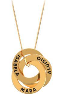 R  3199,00. Dafiti Corrente Feminina Dourada Lã Kapos Pingente Co Elos Personalizados  La 18k Madame 3 Entrelaçados Ouro 10df1cb8b7