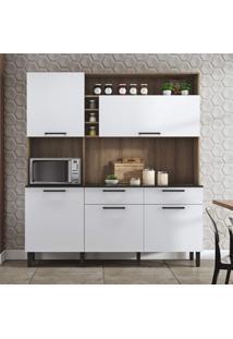 Cozinha Compacta Dara 4 Portas 2 Gavetas E Nicho Itatiaia Castanho/Branco