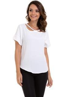Blusa Crepe Gola Trançada Feminino - Feminino-Branco