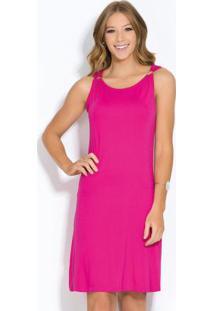 Vestido Clássico Pink Com Argolas No Ombro