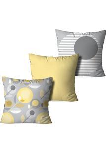 Kit 3 Capas Para Almofadas Decorativas Element Premium Multicolorido Amarelo