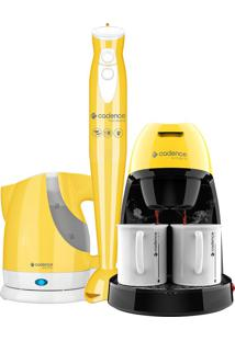 Kit Colors Amarelo Cafeteira + Mixer + Chaleira Elétrica Cadence 220V