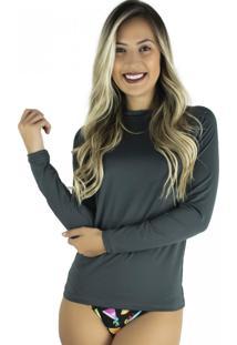 Camisa Mvb Modas Térmica Segunda Pele Proteção Uv 50 Cinza
