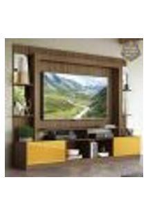 """Rack C/ Painel E Suporte Tv 65"""" Prateleiras C/ Espelho Oslo Multimóveis Madeirado/Amarelo"""