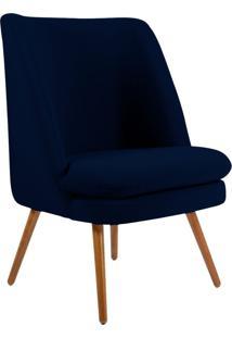 Poltrona Decorativa Sala De Estar Pés Palito Megara Veludo Azul Marinho - Gran Belo