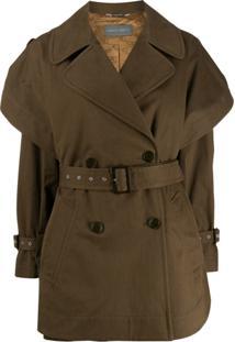 Alberta Ferretti Trench Coat Curto - Verde
